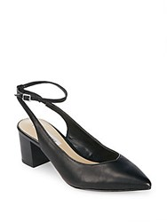 Saks Fifth Avenue Reese Leather Ankle Strap Pumps Black