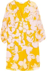 Diane Von Furstenberg Aria Printed Silk Chiffon Mini Dress Yellow