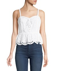 Cupcakes And Cashmere Beverli Lace Up Eyelet Top White