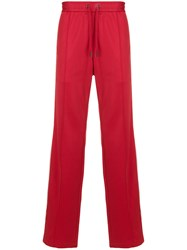Versace Two Tone Track Pants Polyamide Cotton Red