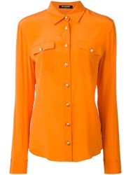 Balmain Chest Pocket Button Up Shirt Women Silk 36 Yellow Orange