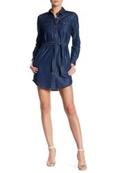 French Connection Long Sleeve Shirt Dress Blue