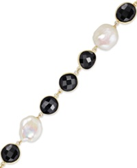 Macy's Cultured Freshwater Pearl 11 1 2Mm 15 1 2Mm And Onyx 10 14Mm Bracelet In 18K Gold Over Sterling Silver