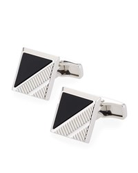 Dunhill Square Onyx Inlay Cuff Links Silver