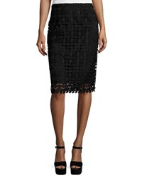 Nanette Lepore Floral Lace Pencil Skirt Black Black Pattern