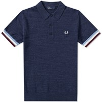 Fred Perry Stripe Cuff Knitted Polo Blue