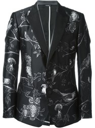 Dolce And Gabbana Bird Print Dinner Jacket Black