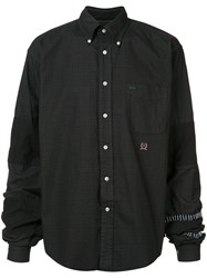 Black Fist Dissected Button Up Shirt Black
