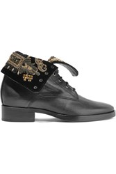 Etro Embellished Velvet And Leather Ankle Boots Black