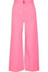 Apiece Apart Cropped Crinkled Cotton Wide Leg Pants Pink