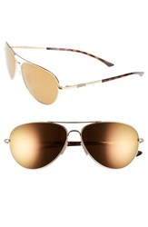 Women's Smith Optics 'Audible Chromapop' 60Mm Polarized Aviator Sunglasses Gold Polar Bronze Mirror