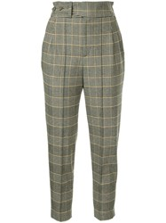 Loveless Checked Paper Bag Trousers Grey