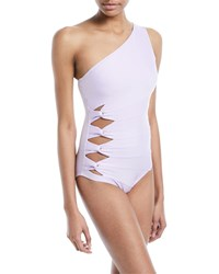 Carmen Marc Valvo One Shoulder Side Knot One Piece Swimsuit Purple