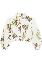 Emilia Wickstead Tamara Cropped Floral Print Stretch Crepe Top Ivory