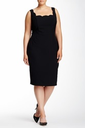 Single Dress Scalloped Trim Sheath Dress Plus Size Black