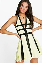 Boohoo Contrast Colour Cut Out Detail Skater Dress Lemon
