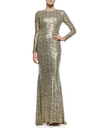 Badgley Mischka Long Sleeve Sequined Cowl Back Gown Gold
