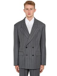 Versace Pinstriped Wool Double Breasted Jacket Grey