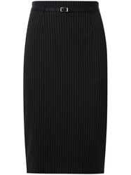 Loveless Pinstripe Pencil Skirt Black