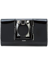Perrin Paris Front Buckle Clutch Bag Leather Patent Leather Black