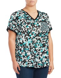 Jones New York Plus Floral Mix Print Top Green