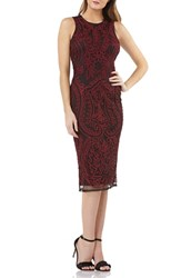 Js Collections Embroidered Sheath Dress Dark Berry