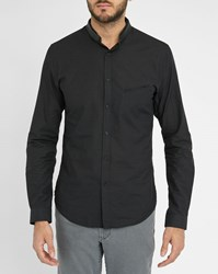 Ikks Black Micro Dots Slim Fit Shirt With Leather Mao Collar