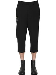 Rick Owens Wool Crepe Cropped Pants W Metal Detail Black