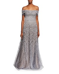 Rene Ruiz Off The Shoulder Embellished Tulle Evening Gown Gray