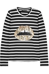 Markus Lupfer Sophie Sequined Striped Cotton Jersey Top Black