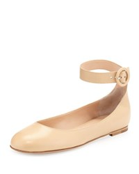 Gianvito Rossi Leather Ankle Strap Ballerina Flat Nude