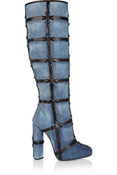 Tom Ford Patchwork Denim And Leather Knee Boots Blue
