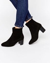 Carvela Suede Mid Heel Boot Black