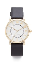 Marc Jacobs Roxy Leather Watch Gold White Satin Black