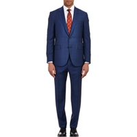 Barneys New York Two Button Lotus Suit Navy