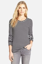 Caslonr Women's Caslon Long Sleeve Scoop Neck Cotton Tee Black White Stripe