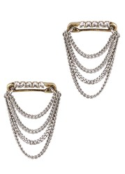 Marc Jacobs Crystal Embellished Safety Pin Chain Earrings Gold