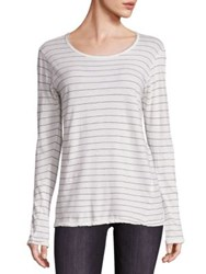 Current Elliott Cotton Striped Boyfriend Tee Dirty White Runaway