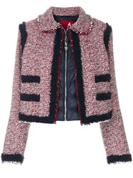 Moncler Gamme Rouge Aberdeen Cropped Jacket Feather Down Polyamide Polyester Virgin Wool Red