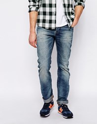 Superdry Washed Jeans In Straight Fit Midblueeqo