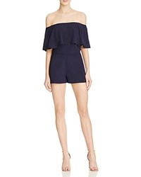 Endless Rose Ruffle Off The Shoulder Romper 100 Bloomingdale's Exclusive Navy