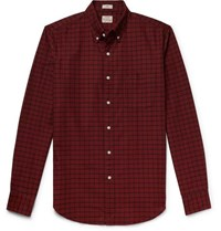 J.Crew Slim Fit Button Down Collar Checked Pima Cotton Oxford Shirt Red
