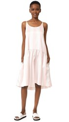 Edit Low Backed Curved Peplum Dress Pink And White