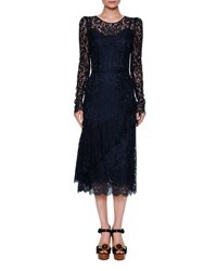 Dolce And Gabbana Long Sleeve Lace Cocktail Dress Navy