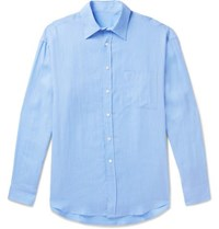 Anderson And Sheppard Linen Shirt Blue