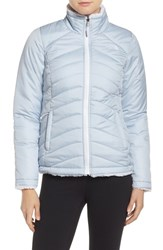 The North Face Women's 'Mossbud Swirl' Water Resistant Jacket Arctic Ice Blue Tnf White