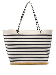 Altuzarra Espadrille Striped Suede Tote Bag Navy White