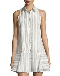 Dolce Vita Drew Striped Fit And Flare Shirtdress White Blue