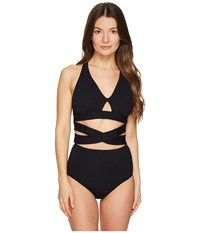 Proenza Schouler Wrap High Waist Bikini Set Black Women's Swimwear Sets