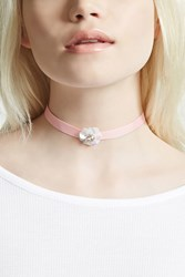 Forever 21 Floral Ribbon Choker Pink Clear
